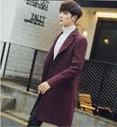 Mens Long Style Coat Trench Jackets Casual Wool Coat Overcoat Fashion Lapel