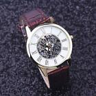 Golden Hollow Men Quartz Watch Rome Digital Leather Fashion Business Male Watch