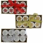 Christmas 8 Tealight Candles with Glitter Snowflakes - Choose Colour