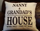 PERSONALISED CUSHION COVER CHRISTMAS GIFT NANNY & GRANDAD'S HOUSE FREE P&P