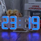LED Wall Clock Dimmer Digital 3D Display Alarm Snooze USB Snooze DC Day/Night US