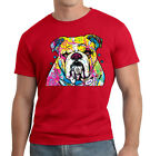 New Men's Neon English Bulldog Red T Shirt Bright Colorful 90's Fluorescent Tee image