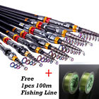 Portable Fishing Rod Carbon Fiber Ultralight Travel Spinning Pole with Free Line
