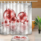 Christmas balls and silver dots Shower Curtain Bathroom Decor & 12hooks 71*71in