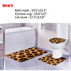 Leopard Bathroom Carpets Animal Fur Print Pedestal Rug Bath Mat Toilet Lid Cover