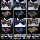 Hisdern Men Paisley Self Bow Tie Butterfly Jacquard Silk Handkerchif Hanky Set
