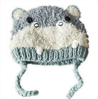 ZARA Boy Baby Toddler Animal DOG GREY GREEN Winter Trapper Hat 6m-4y