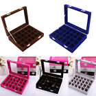 24 Slot Velvet Jewelry Organizer Holder Ring Storage Case Earring Display Box US