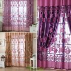Floral Tulle Voile Room Door Window Curtains Purple Drapes Sheer Panel Drapes US