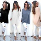 Womens Casual Loose Long Sleeve Sweater V-neck Oversized Knitwear Jumper Tops