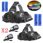 20000LM Zoomable Headlamp T6 LED Headlight Flashlight +Charger+18650 Battery USA