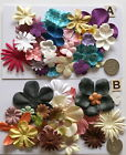SCRAPBOOKING NO 217 - 16 MIXED PRIMA PAPER FLOWERS - 2 DIFFERENT PACKS AVAILABLE