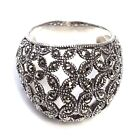 (SIZE 6,7,8,9) FLORAL LATTICE CHUNKY RING Marcasite Studded .925 STERLING SILVER