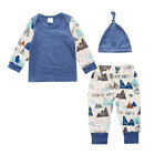 3 Pieces Baby Boy's Clothing Sets Spring Boys Clothes T-shirt+Pants +Hat  0-2Y