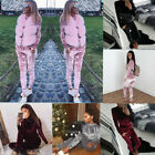 Ladies Crushed Velvet Lounge Suit Sweatshirt Pant Women Lounge Wear Tracksuit UK