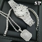 MENS HIP HOP WHITE GOLD PT WATCH & FULL ICED OUT NECKLACE & 1 ROW BRACELET SET
