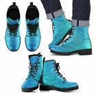 Men Mandala Boots Blue Ethnic Style Women Hand Printed Leather Shoes All Sizes