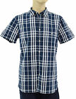 $275 BURBERRY Brit Navy Blue Check Casual Mens SHORT SLEEVE Shirt NEW COLLECTION