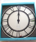 LARGE ROUND 40CM MIRROR MIRRORED WALL CLOCK BLACK ROMAN NUMERALS IN BOX GIFT ?