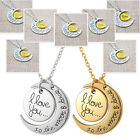 """I Love You To the Moon and Back"""" Carved Family Heart Pendant Necklace Jewellery"""