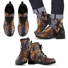 Colorful Abstract Leather Comfort Gift Fashion Hand Printed Boots All Sizes