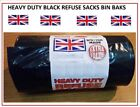 HEAVY DUTY BLACK REFUSE SACKS STRONG THICK RUBBISH BAGS BIN LINERS UK SELLER