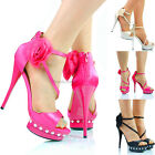NEW WOMENS LADIES HIGH HEEL PLATFORM DESIGNER EVENING SANDALS SHOES SIZE 4 5 6 7