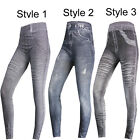 NEW WOMENS LADIES GIRLS SEXY DENIM PRINTED STRETCHY LEGGINGS TROUSERS SIZE