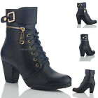 NEW WOMENS LADIES DESIGNER SIDE ZIP LACE UP FRONT BLOCK HEEL  SIZE 4 5 6 7