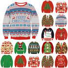 Red UGLY XMAS CHRISTMAS SWEATER Vacation Santa Elf Novelly Women Men Jumper Tops