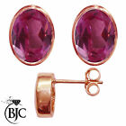 BJC® 9ct Rose Gold Natural Pink Topaz Oval Stud Earrings 3.00ct Studs