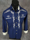 Mens WESTERN DIAMOND Shirt Dk Blue w/ Embroidered Cowboy Hats Bone Style Buttons