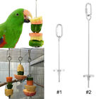 Bird Parrot Cage Stainless Steel Skewer Food Meat Stick Spear Fruit Holder Toy
