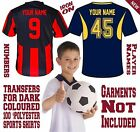 Iron On Kids Size Football Soccer Numbers Letters for 100% Polyester Dark Jersey