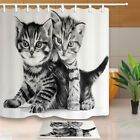Two cute gray cats Shower Curtain Bathroom Decor Fabric & 12hooks 71*71inches