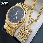 MEN ICED OUT GOLD PLATED URBAN STYLE GOLDEN NUGGET WATCH & NECKLACE COMBO SET  image