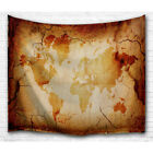 Bewave Wall Tapestry World Map Hanging large Antique Polyester Fabric Wall Décor