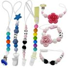 US Infant Baby Pacifier Holder Clip Chain Dummy Nipple Teething Beads Strap Toy