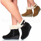 WOMENS LADIES MID WEDGE HEEL ZIP BUCKLE FAUX FUR CUFF LINING ANKLE BOOTS SIZE