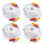 25/50/60/100/150ft HD WHITE Video Power Cable BNC RCA for Security Camera System
