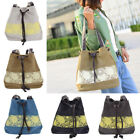 Womens Floral Canvas Bucket Shoulder Bag String Lace Shopping Handbag Fashion 1x