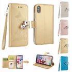 Bling Diamond PU Leather Magnetic Stand Folio Flip Case Cover For iPhone X 2017