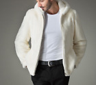 Mens Hooded Full Fur Zip Sleeves White Outwear Casual pocket Coats Warm Outwear