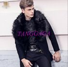 Retro Mens Faux Fur Collar Wool Blend Overcoat Single Breasted Thick Trench Coat