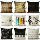 ES  Retro Music Note Print Pillow Case Art Home Office Decor Cushion Cover Surpr