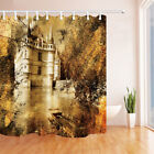 Old castle and boat Shower Curtain Bathroom Decor Fabric & 12hooks 71*71inches