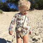 US New Cute Kids Baby Girls Floral Print Long Sleeves Jumpsuit Crawl Suit Size