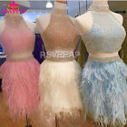 Beaded Crystals Sparkly Two Piece Cocktail Dress Halter Feathers Short Prom Gown