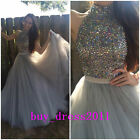 BlingBling Halter Prom Dresses Long Tulle Evening Wedding Party Formal Ball Gown