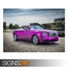 ROLLS-ROYCE DAWN IN FUXIA 2017 (AD741) CAR POSTER - Poster Print Art A0 A1 A2 A3